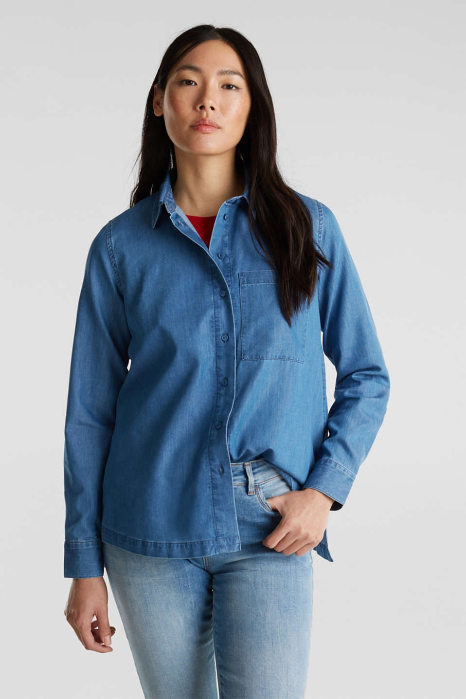Denim blouse with lyocell, BLUE MEDIUM WASH, detail image number 0