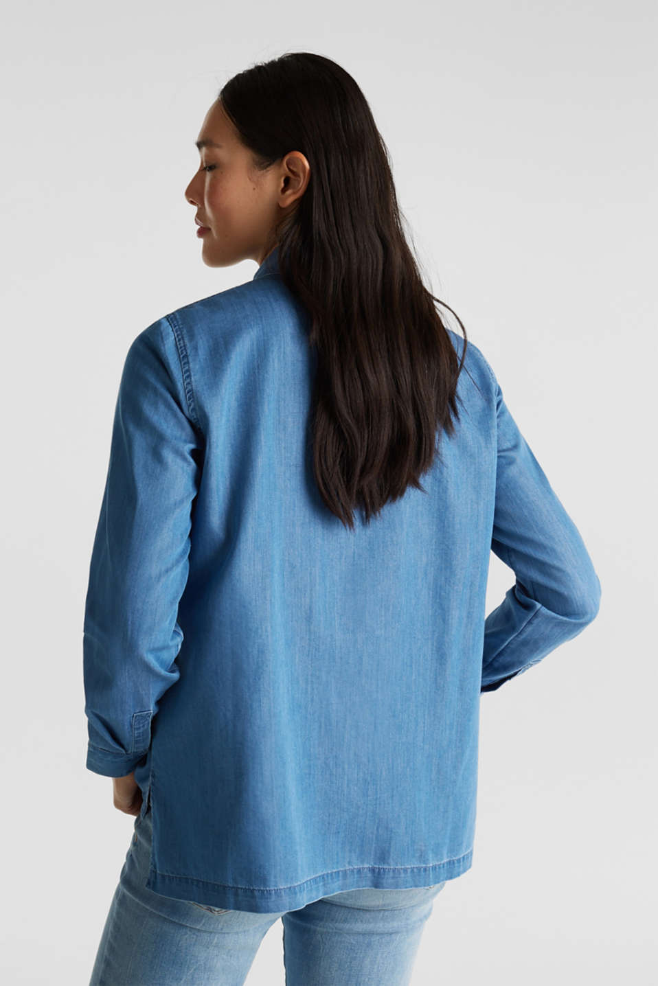 Denim blouse with lyocell, BLUE MEDIUM WASH, detail image number 3