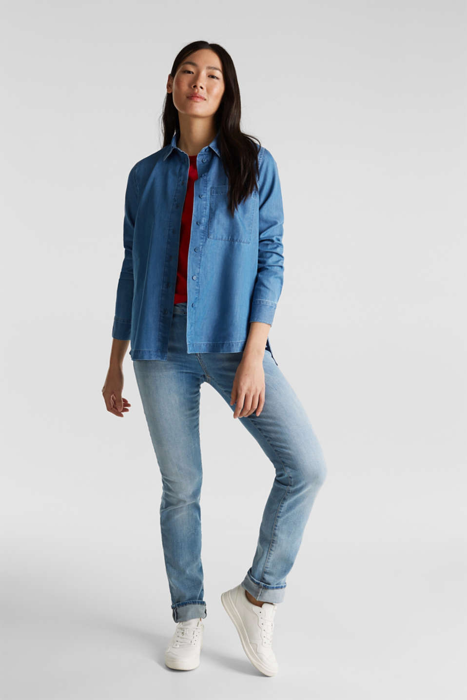 Denim blouse with lyocell, BLUE MEDIUM WASH, detail