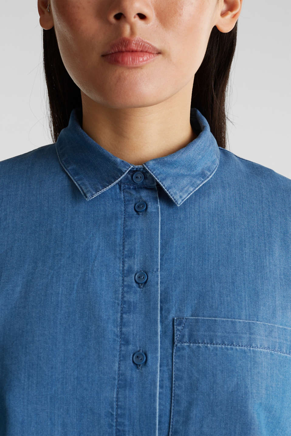 Denim blouse with lyocell, BLUE MEDIUM WASH, detail image number 2