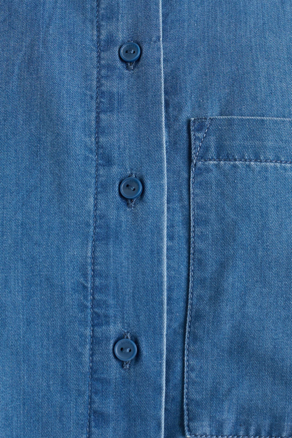 Denim blouse with lyocell, BLUE MEDIUM WASH, detail image number 4