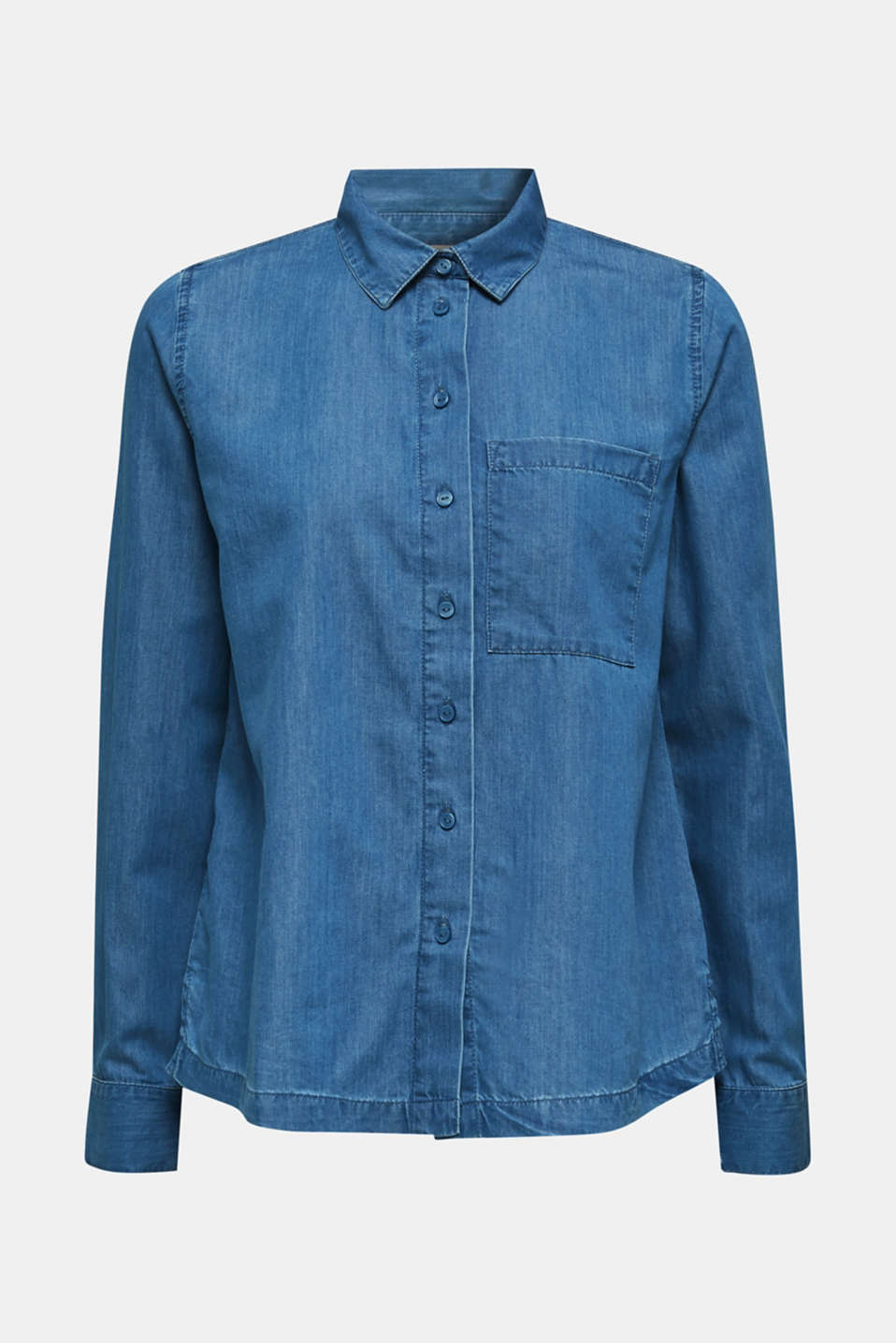 Denim blouse with lyocell, BLUE MEDIUM WASH, detail image number 6