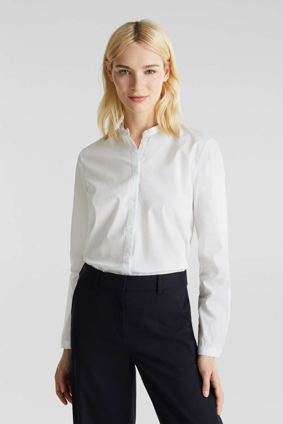 Stretch cotton poplin blouse, WHITE, detail image number 0