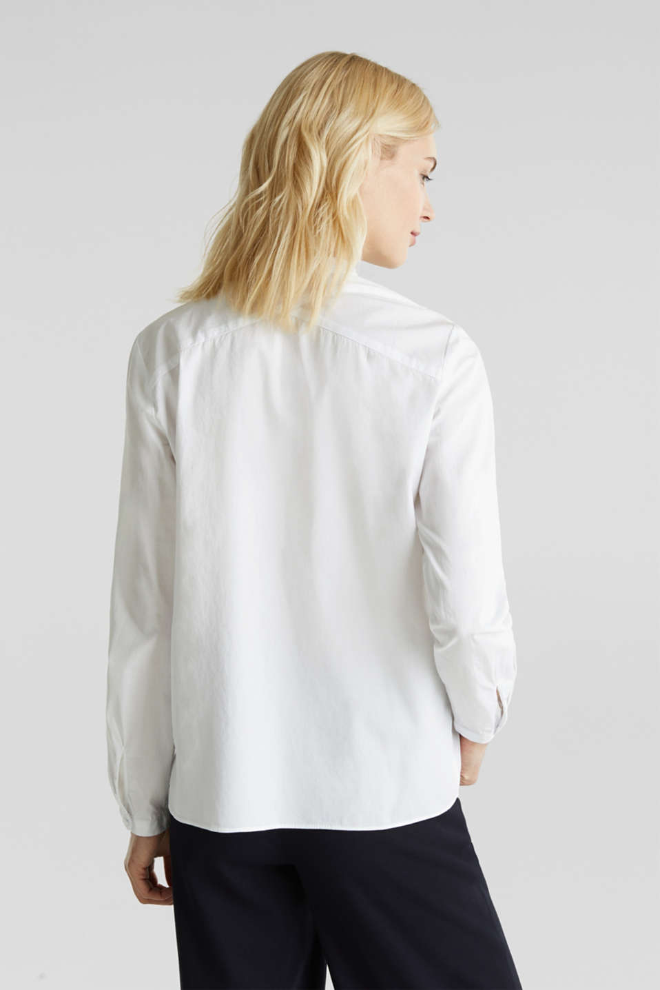 Stretch cotton poplin blouse, WHITE, detail image number 2