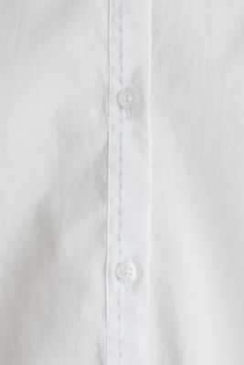 Stretch cotton poplin blouse, WHITE, detail