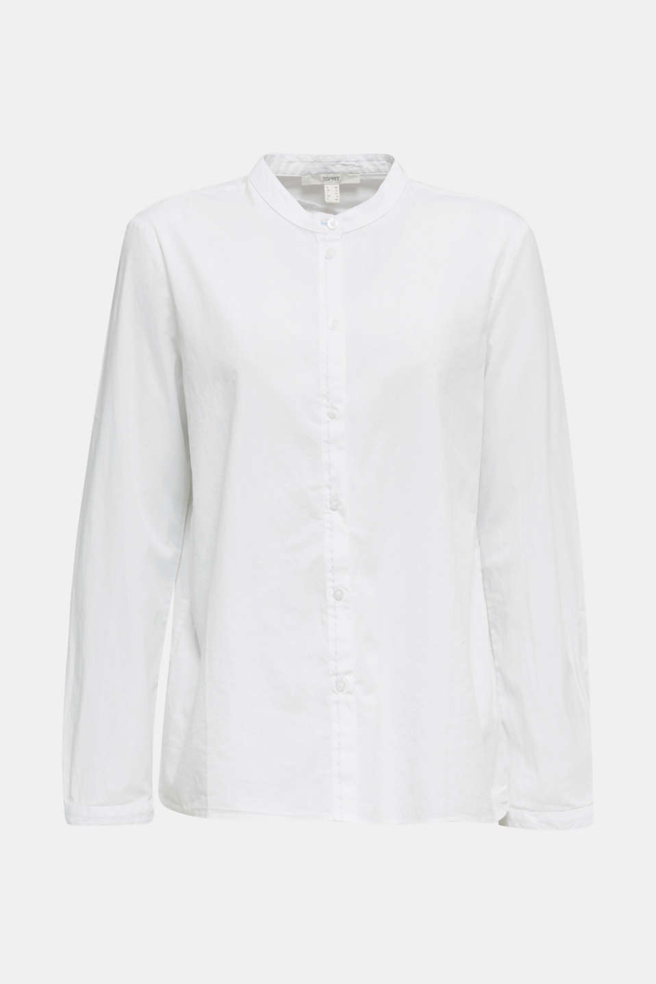 Stretch cotton poplin blouse, WHITE, detail image number 6