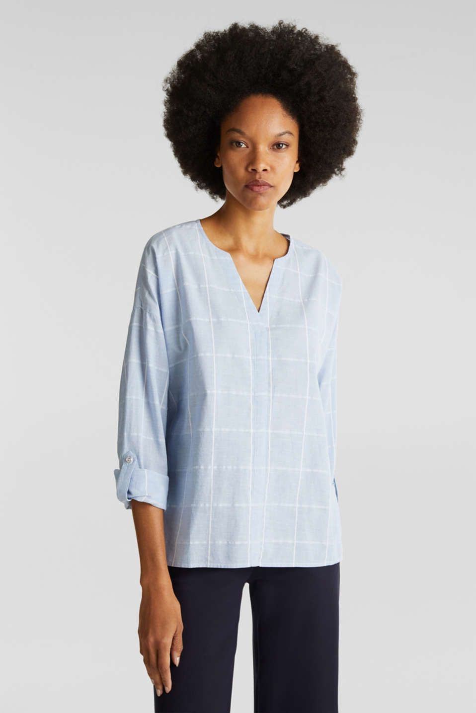 Esprit - 100% cotton blouse with grid checks