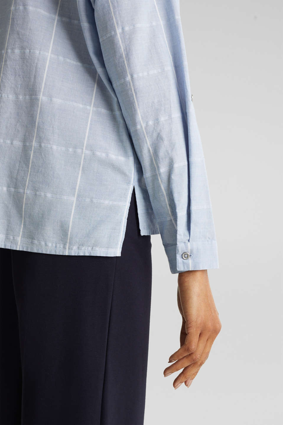100% cotton blouse with grid checks, LIGHT BLUE, detail image number 5