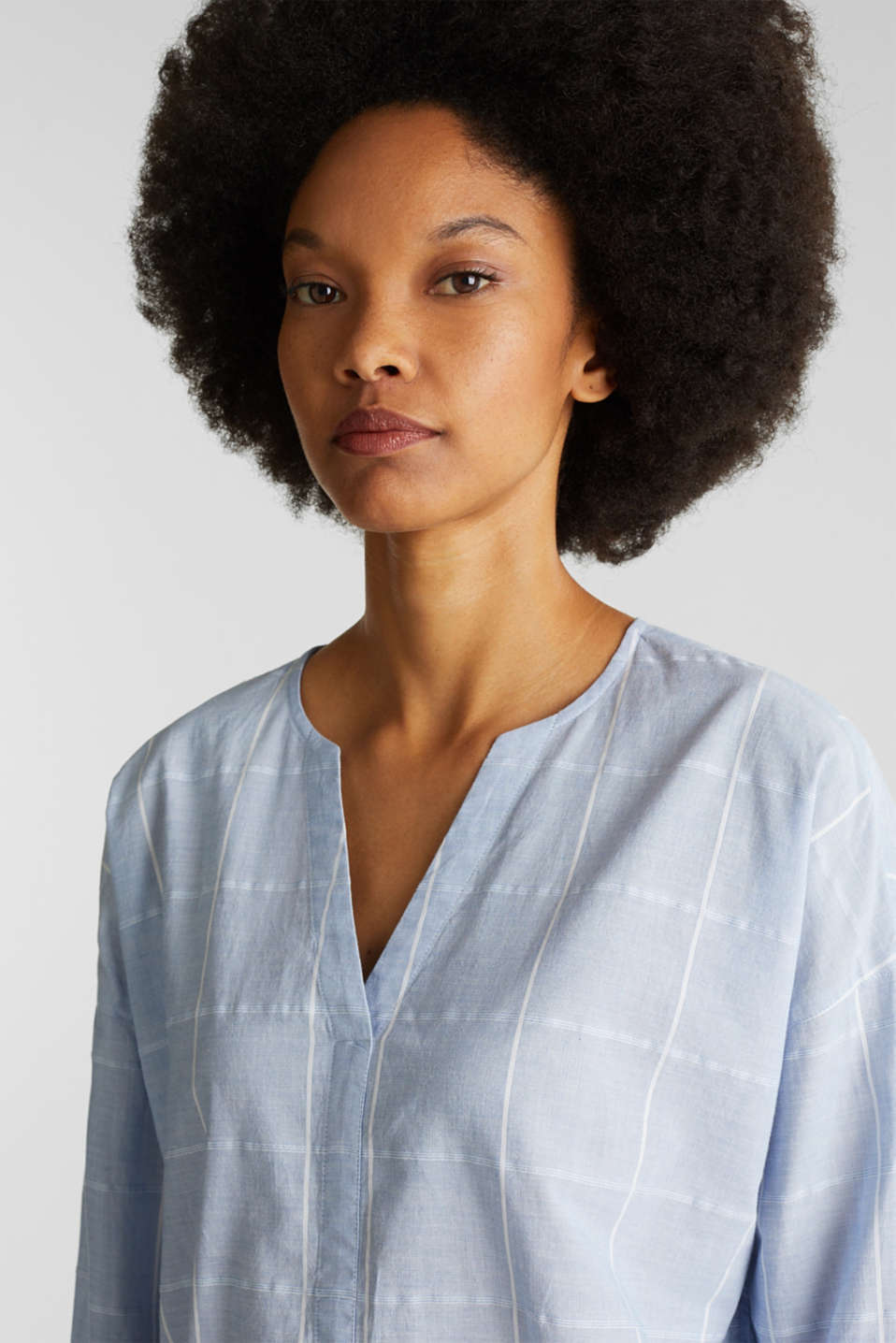 100% cotton blouse with grid checks, LIGHT BLUE, detail image number 6
