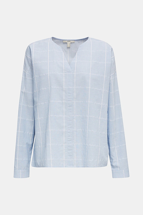 100% cotton blouse with grid checks