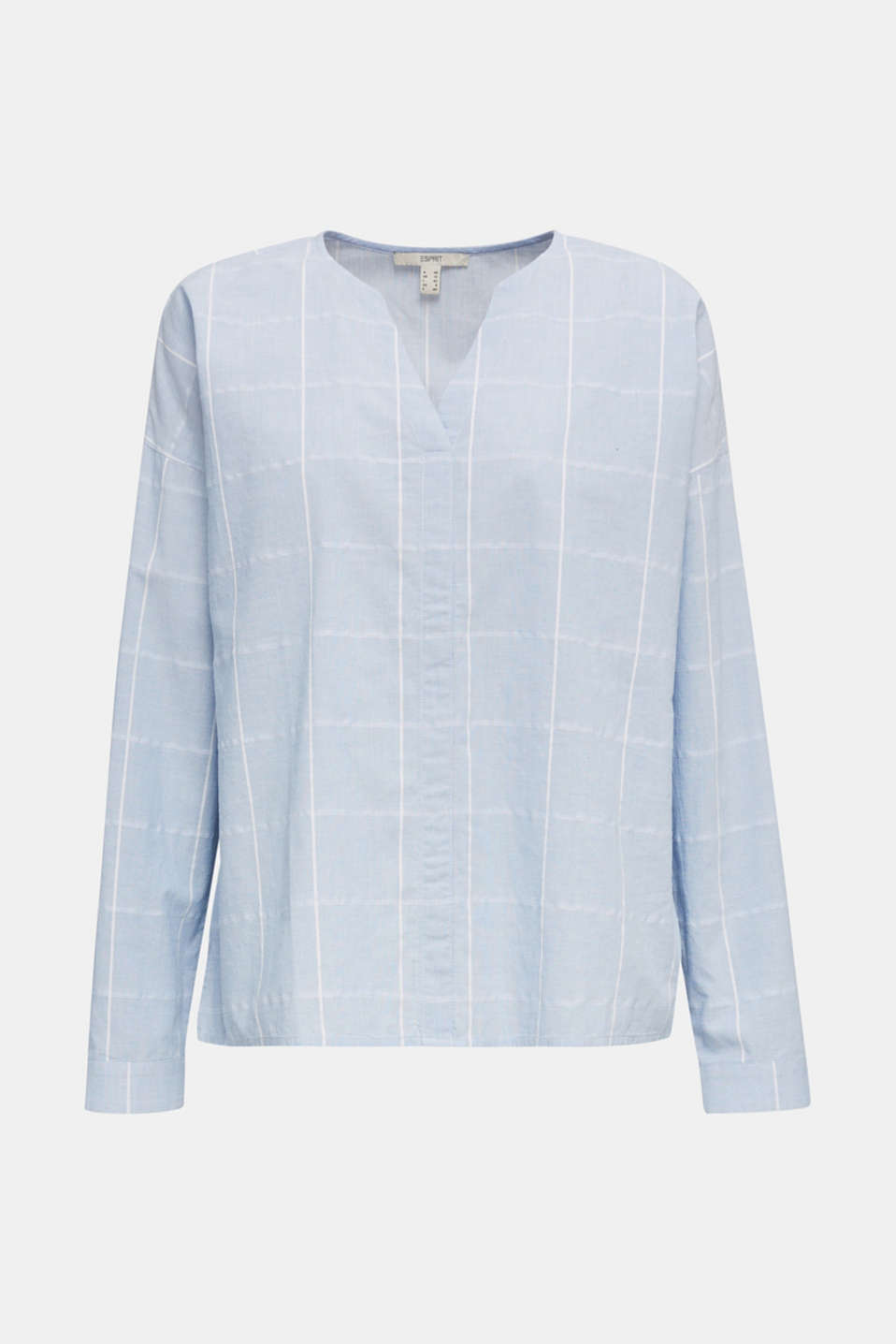 100% cotton blouse with grid checks, LIGHT BLUE, detail image number 7