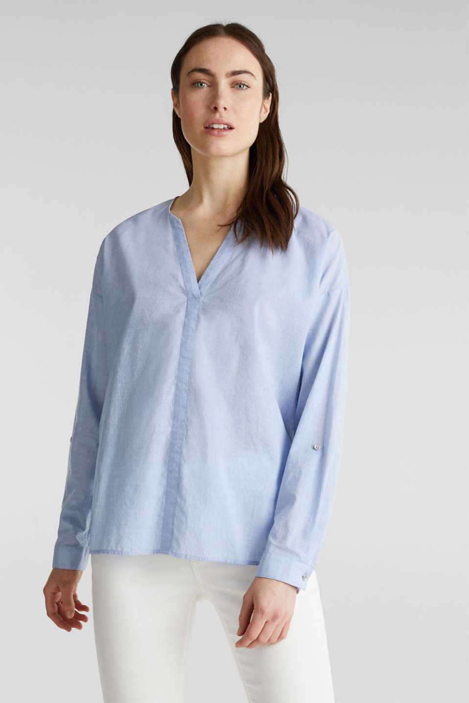 Blouse with turn-up sleeves, 100% cotton, LIGHT BLUE, detail image number 0