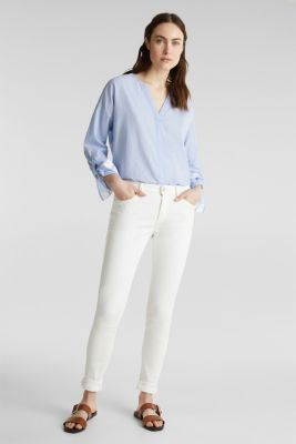 Blouse with turn-up sleeves, 100% cotton, LIGHT BLUE, detail