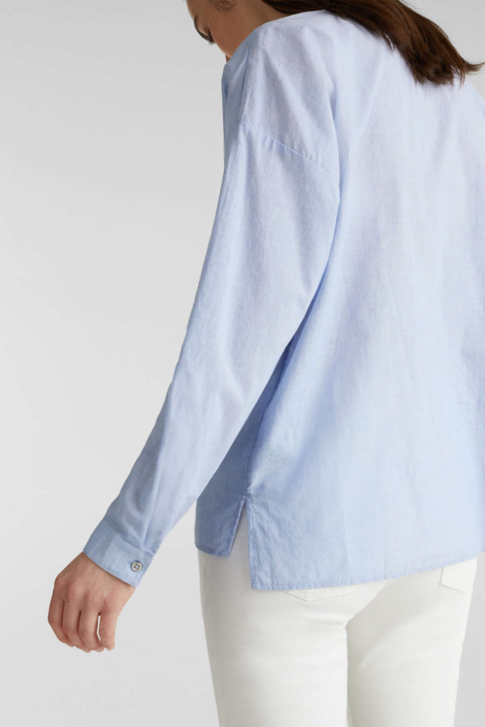 Blouse with turn-up sleeves, 100% cotton, LIGHT BLUE, detail image number 5