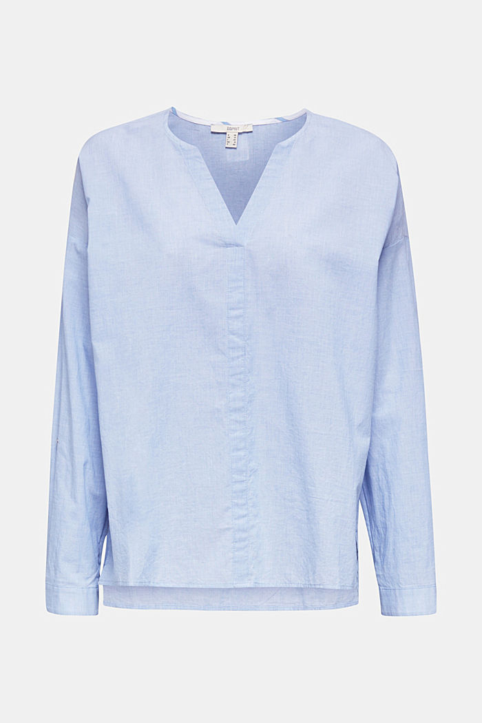 Blouse with turn-up sleeves, 100% cotton
