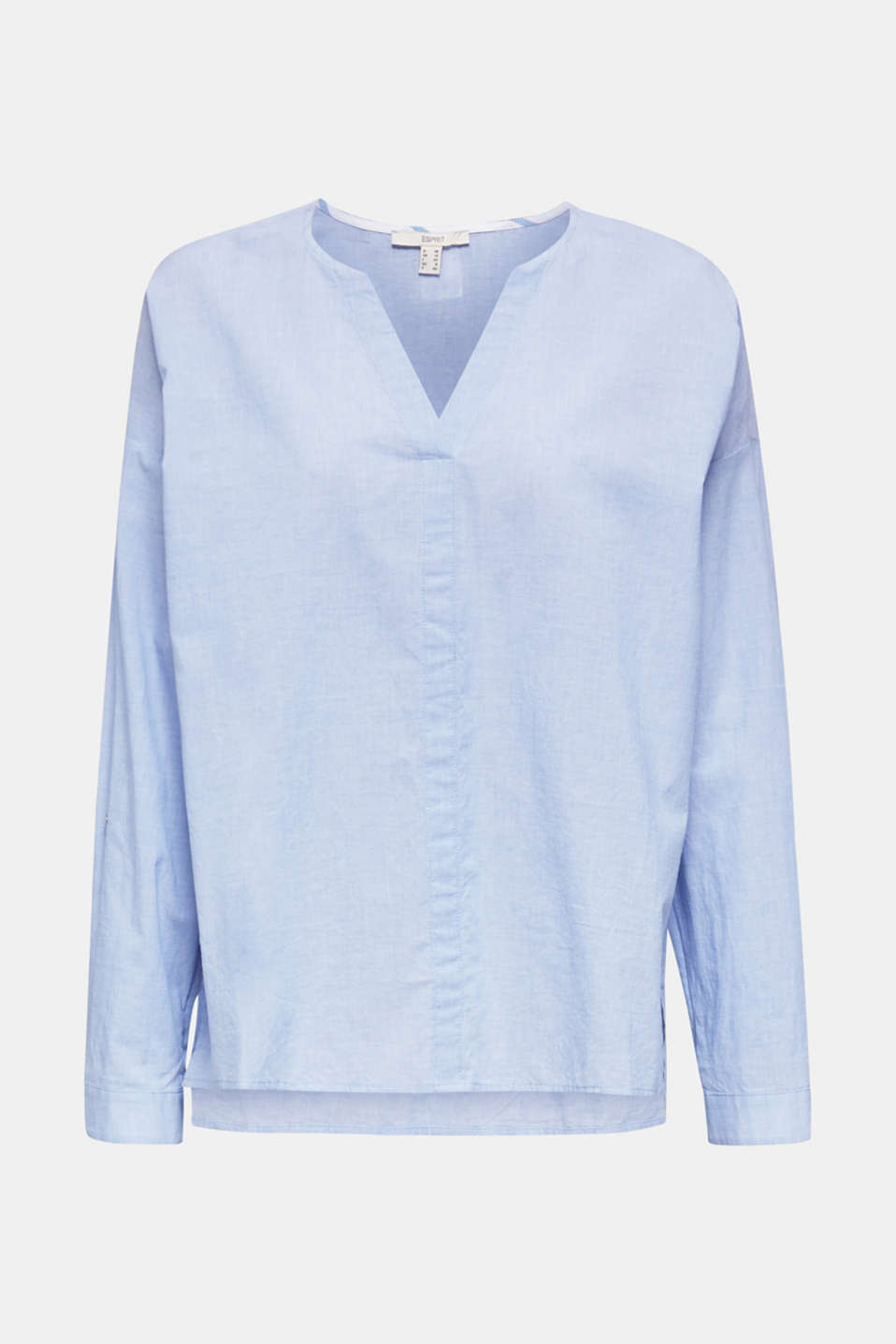 Blouse with turn-up sleeves, 100% cotton, LIGHT BLUE, detail image number 8