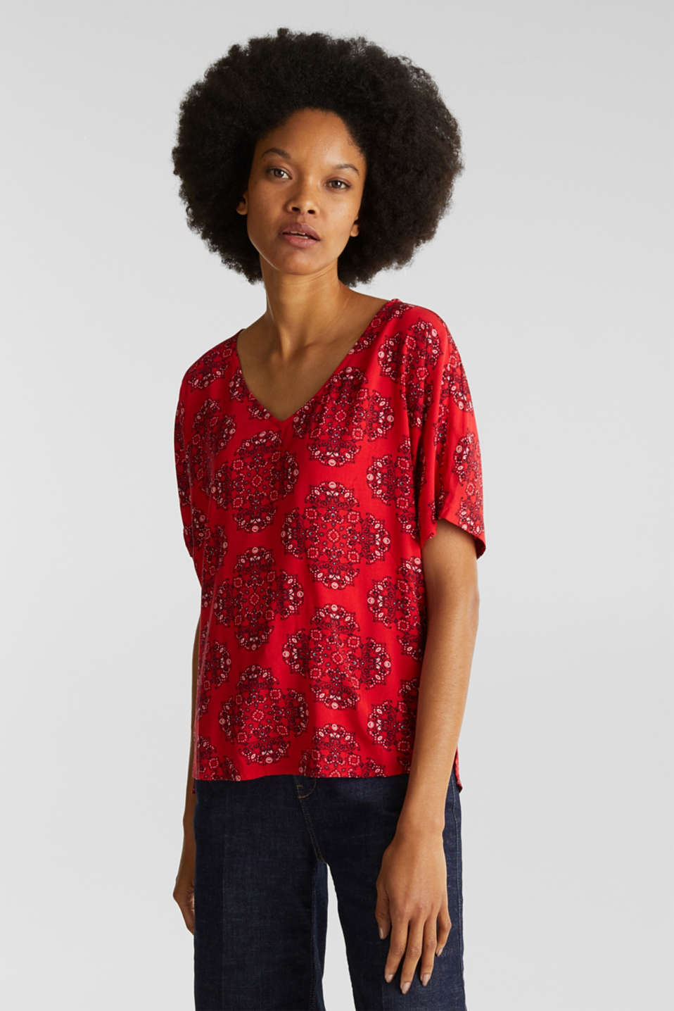 Print blouse with LENZING™ ECOVERO™, DARK RED 4, detail image number 0