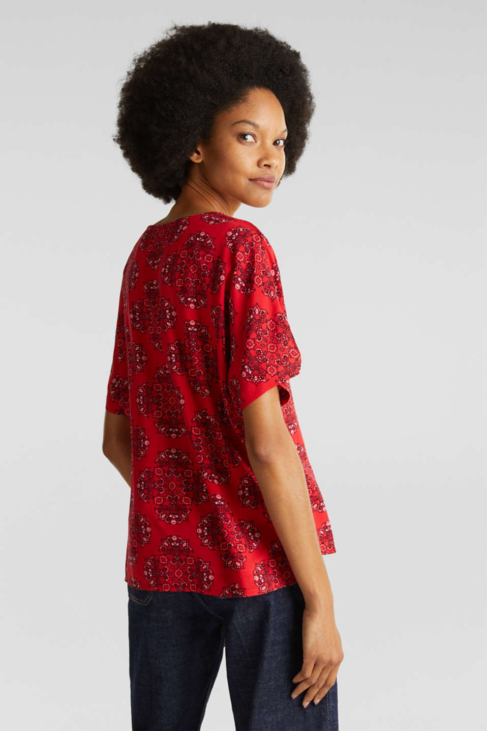 Print blouse with LENZING™ ECOVERO™, DARK RED 4, detail image number 3