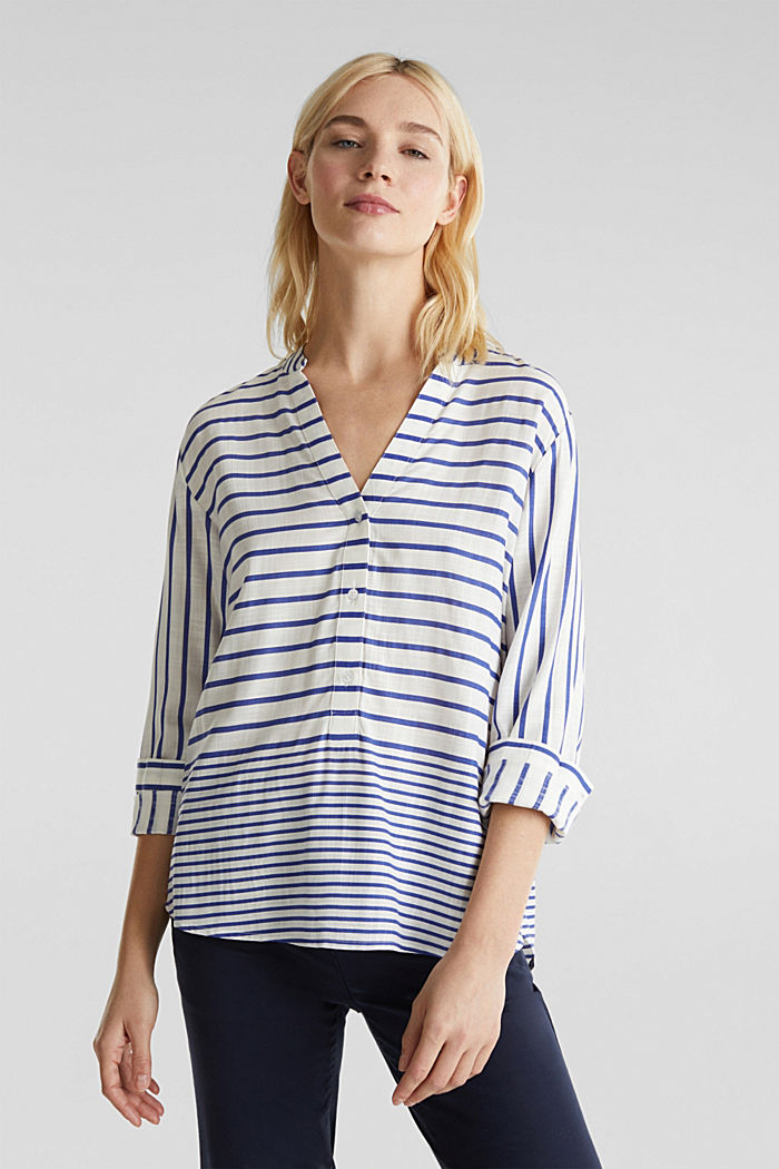 Striped blouse made of LENZING™ ECOVERO™, BRIGHT BLUE, detail image number 0