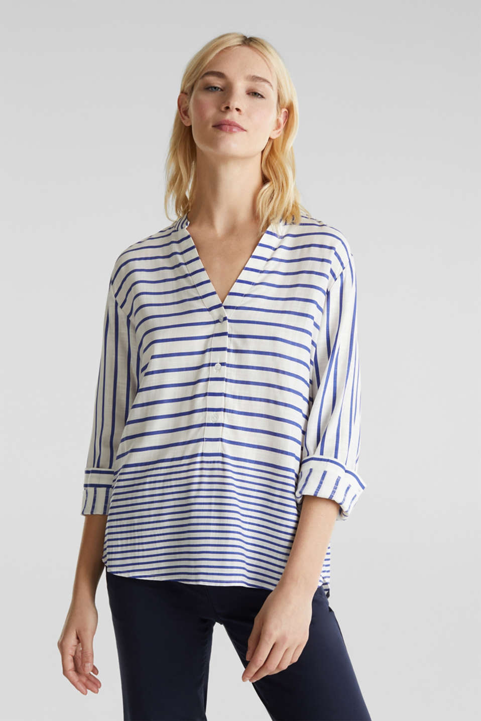 Striped blouse made of LENZING™ ECOVERO™, BRIGHT BLUE 3, detail image number 0