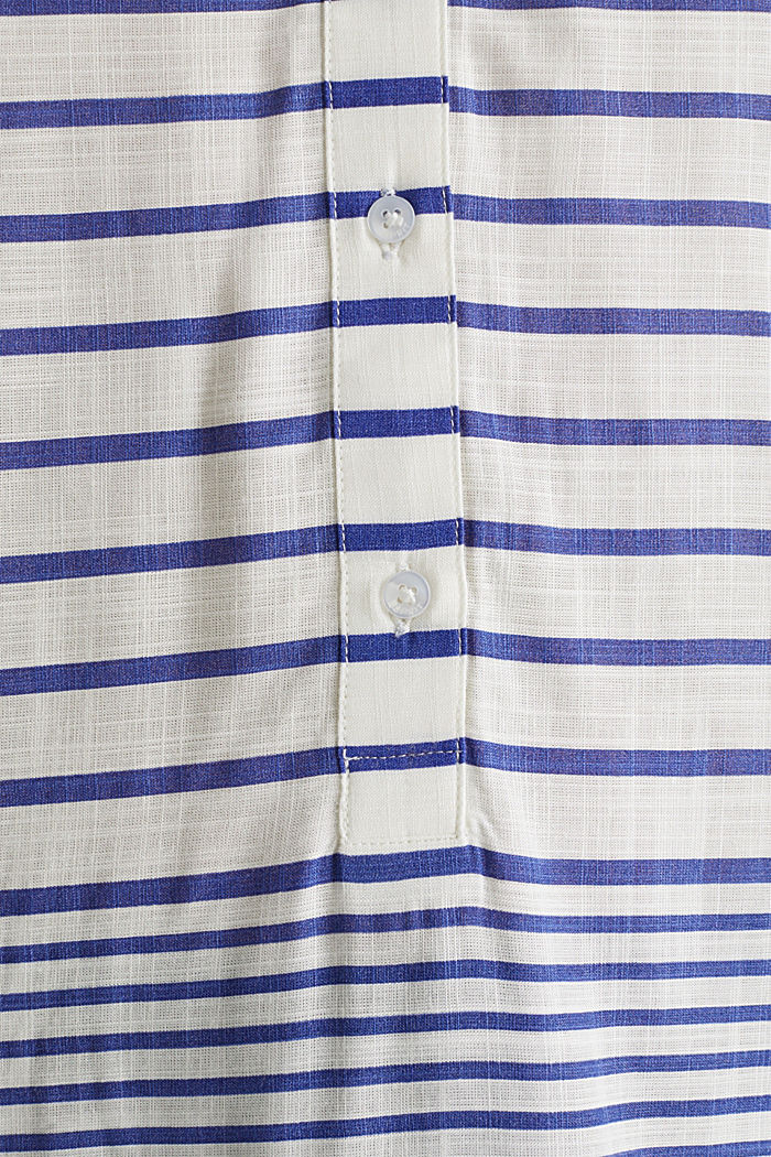 Striped blouse made of LENZING™ ECOVERO™, BRIGHT BLUE, detail image number 3