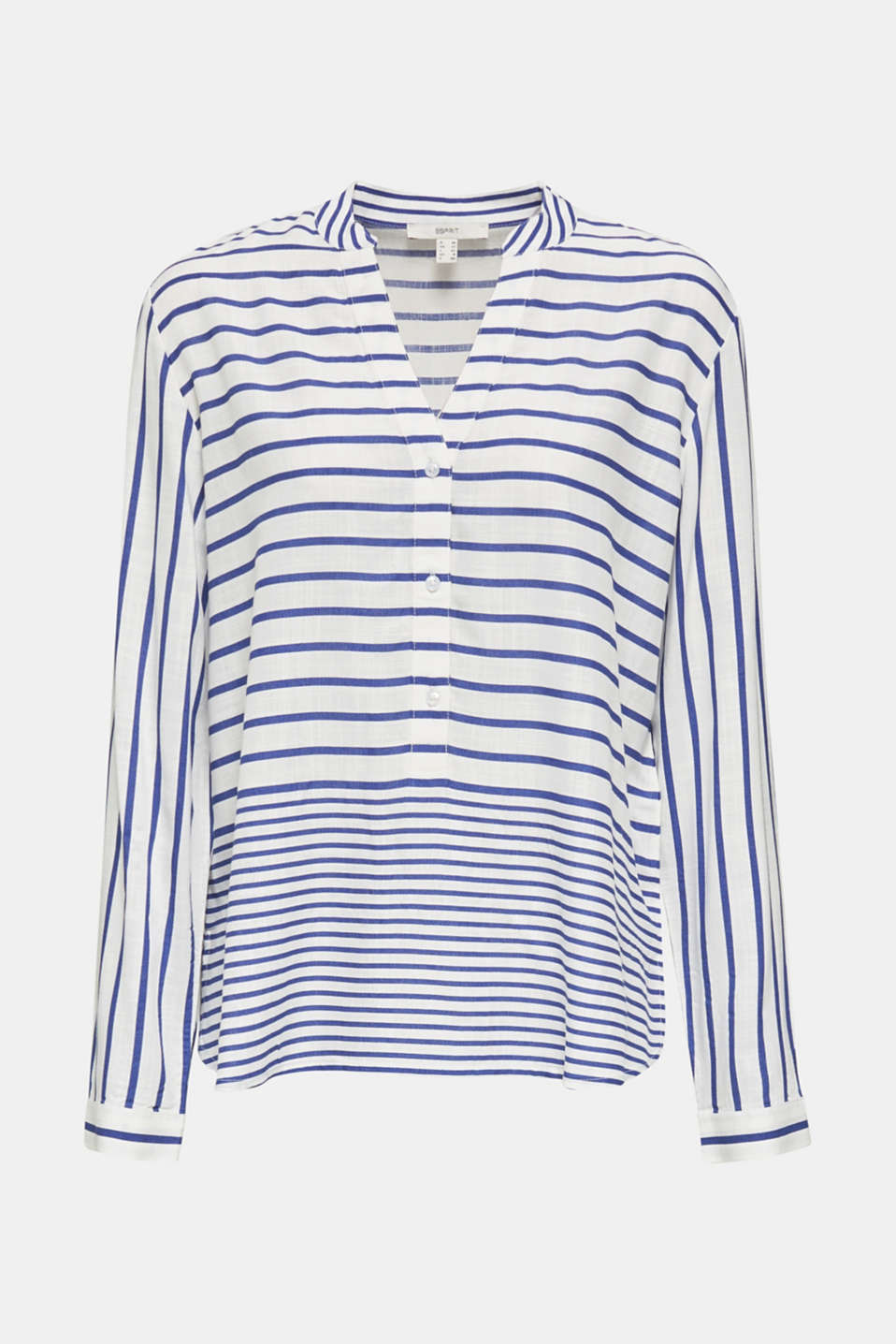 Striped blouse made of LENZING™ ECOVERO™, BRIGHT BLUE 3, detail image number 7