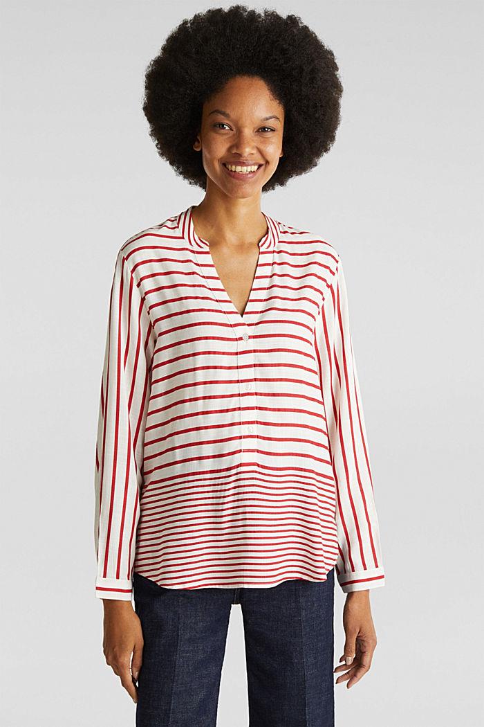 Streifen-Bluse aus LENZING™ ECOVERO™, DARK RED, detail image number 0