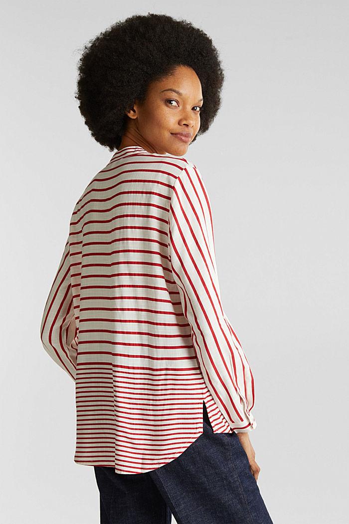 Streifen-Bluse aus LENZING™ ECOVERO™, DARK RED, detail image number 3