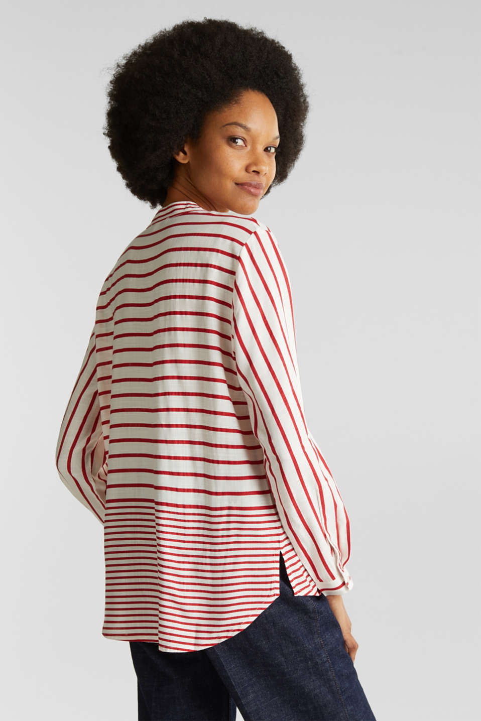 Striped blouse made of LENZING™ ECOVERO™, DARK RED 3, detail image number 3