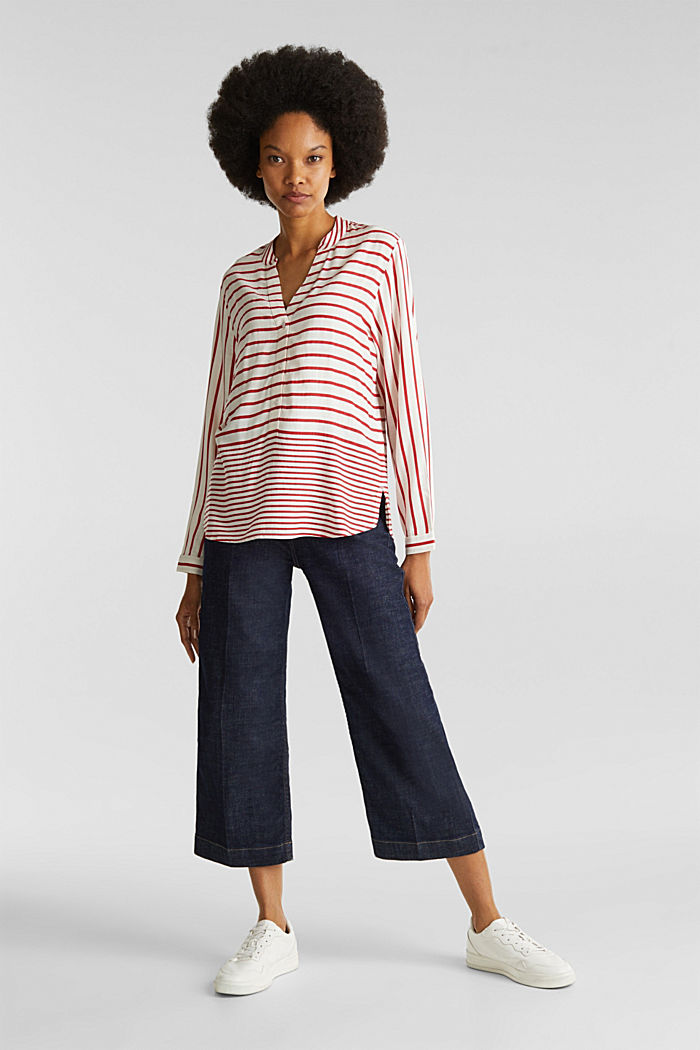 Streifen-Bluse aus LENZING™ ECOVERO™, DARK RED, detail image number 1