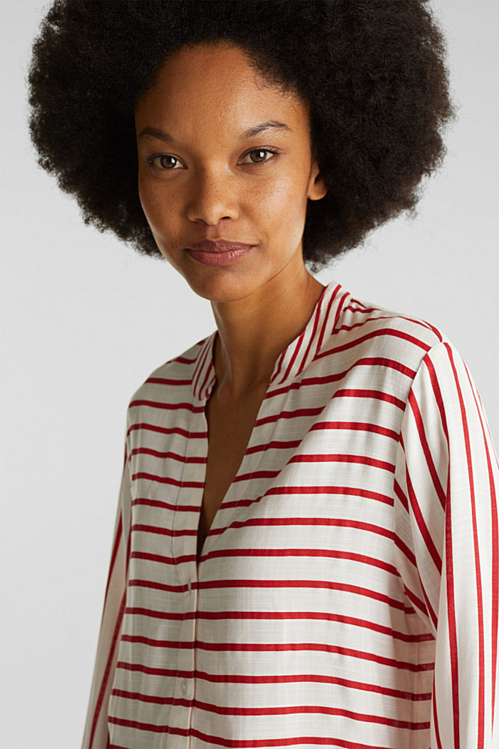 Streifen-Bluse aus LENZING™ ECOVERO™, DARK RED, detail image number 2