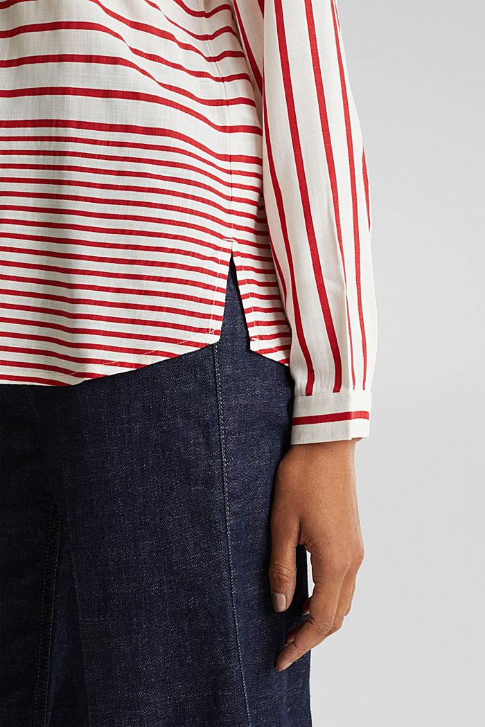 Streifen-Bluse aus LENZING™ ECOVERO™, DARK RED, detail image number 5