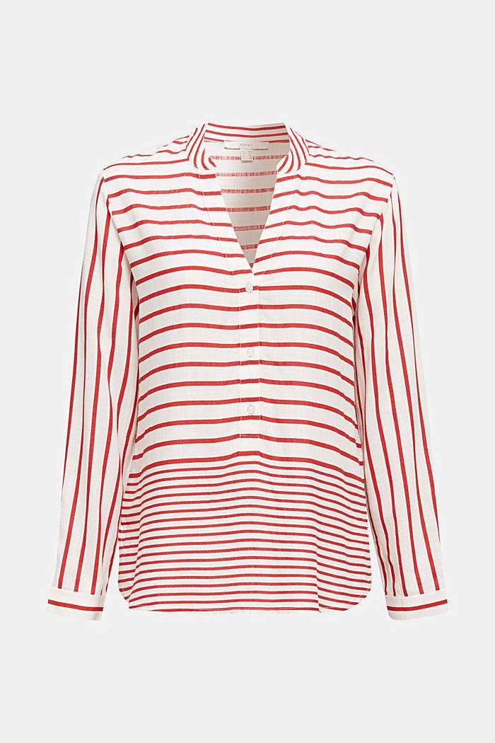 Streifen-Bluse aus LENZING™ ECOVERO™, DARK RED, detail image number 6