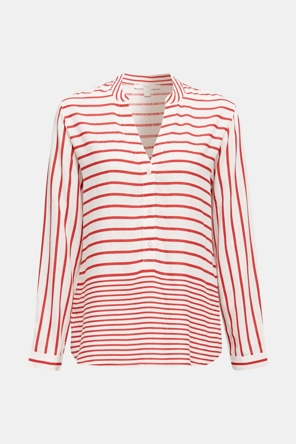 Striped blouse made of LENZING™ ECOVERO™, DARK RED 3, detail image number 6