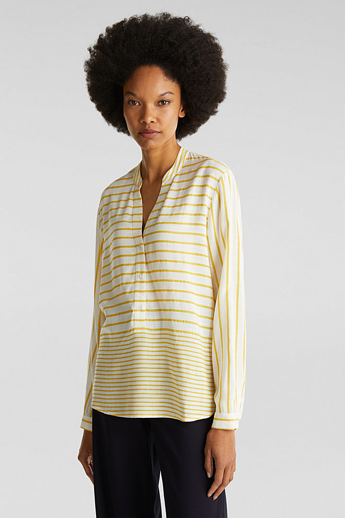 Striped blouse made of LENZING™ ECOVERO™, YELLOW, detail image number 0