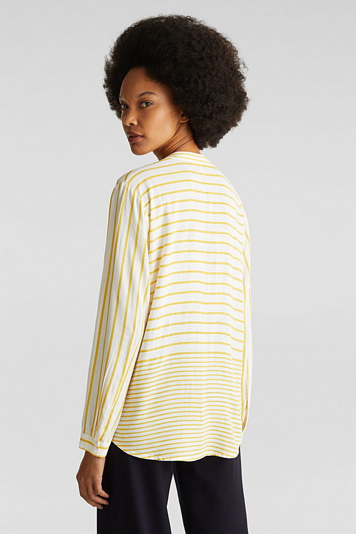 Striped blouse made of LENZING™ ECOVERO™, YELLOW, detail image number 2