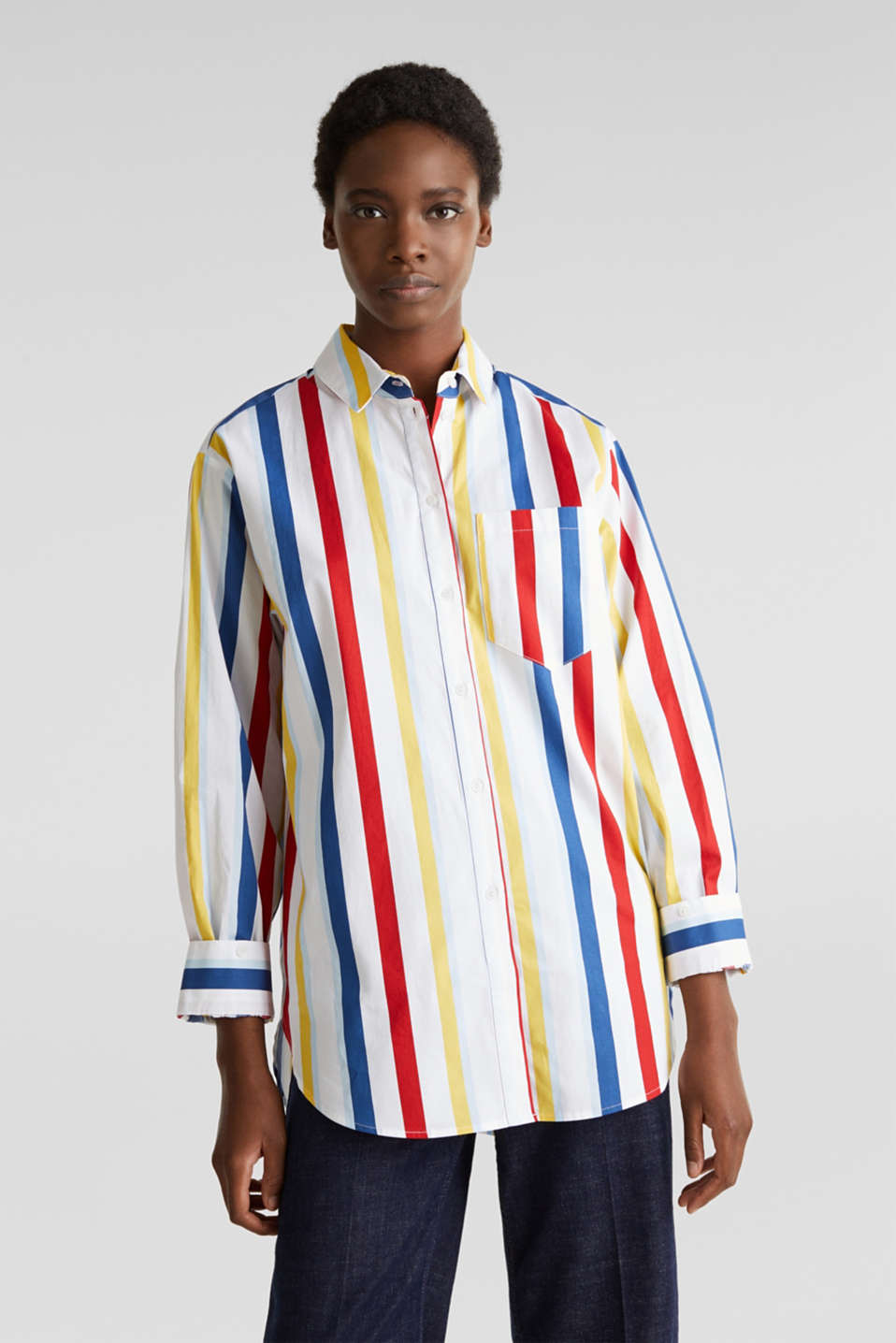Esprit - Blusa oversize stretch con righe multicolore