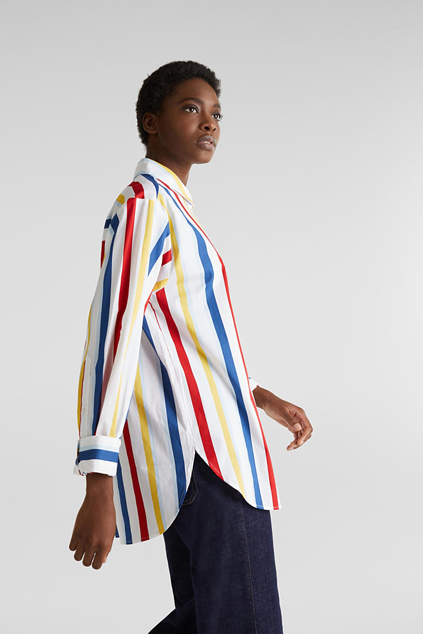 Oversized stretch blouse with multicoloured stripes