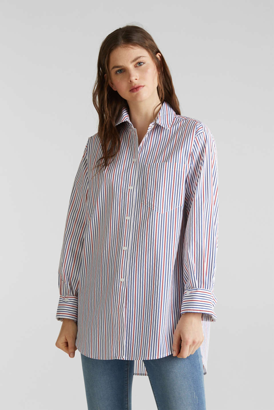 Oversized stretch blouse with multicoloured stripes, WHITE 4, detail image number 0