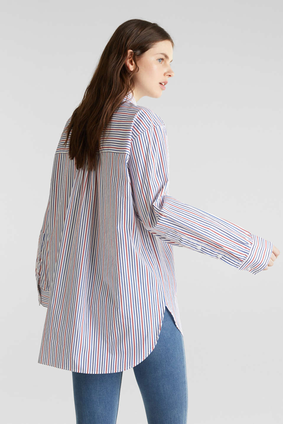 Oversized stretch blouse with multicoloured stripes, WHITE 4, detail image number 3