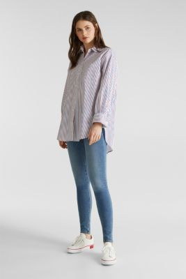 Oversized stretch blouse with multicoloured stripes, WHITE 4, detail