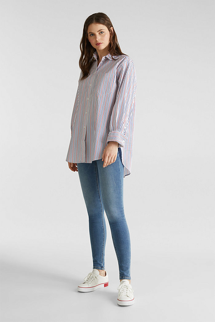 Oversized stretch blouse with multicoloured stripes, NEW WHITE, detail image number 1