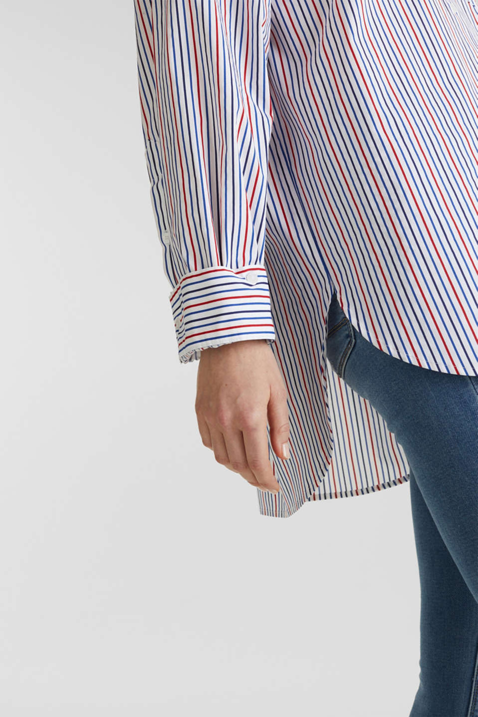 Oversized stretch blouse with multicoloured stripes, WHITE 4, detail image number 2