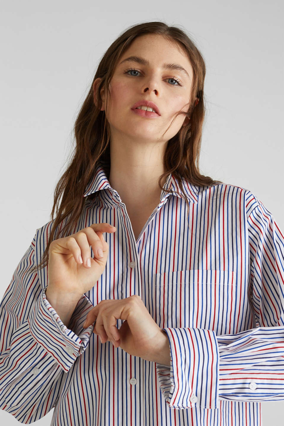 Oversized stretch blouse with multicoloured stripes, WHITE 4, detail image number 5
