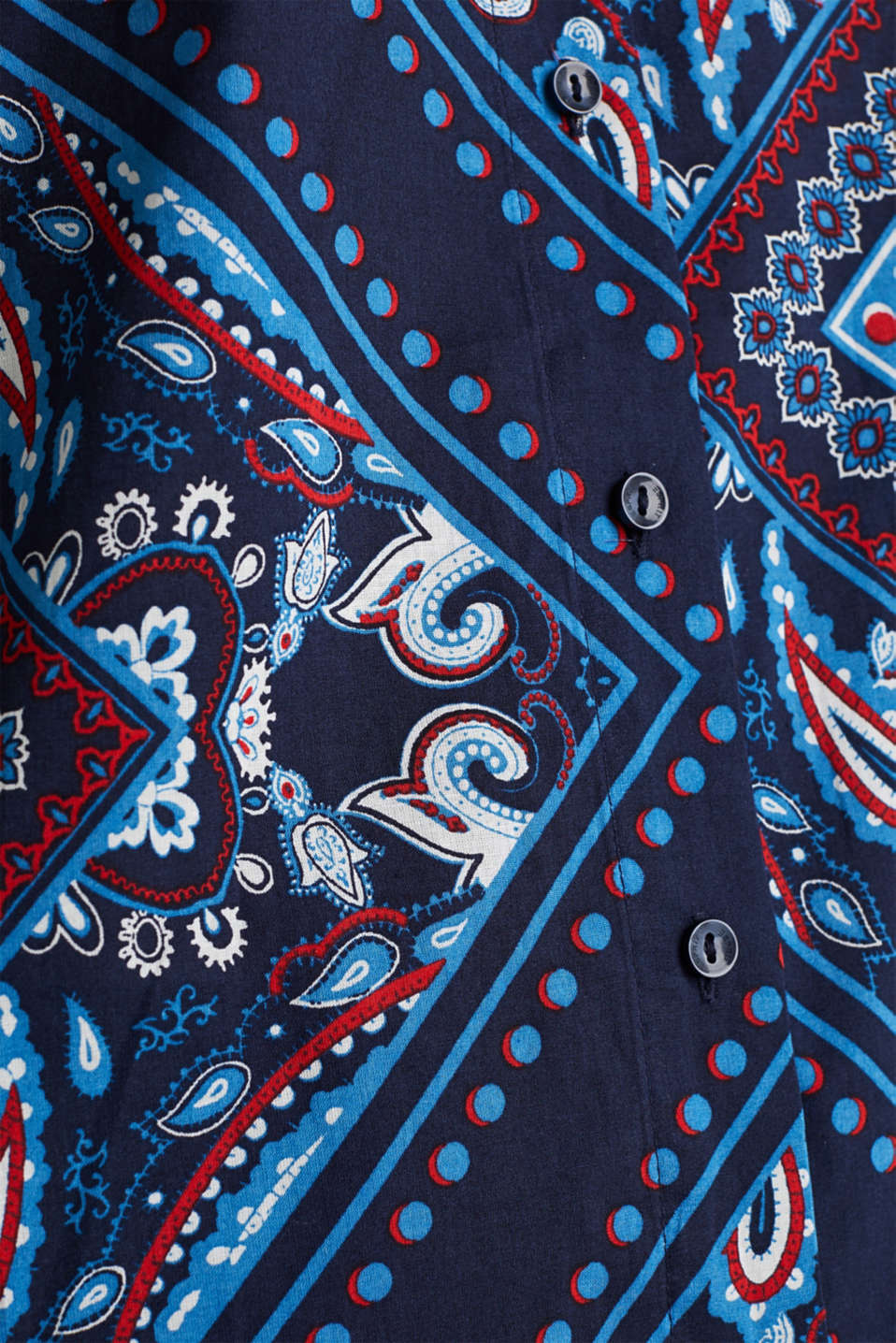 Bandana print blouse, 100% cotton, NAVY 4, detail image number 4
