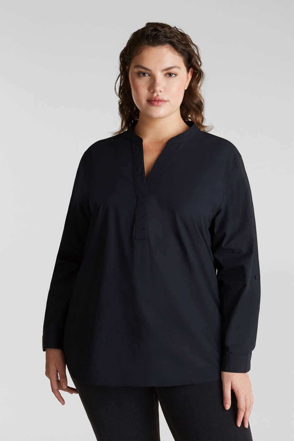 CURVY cotton shirt blouse, BLACK, detail image number 0