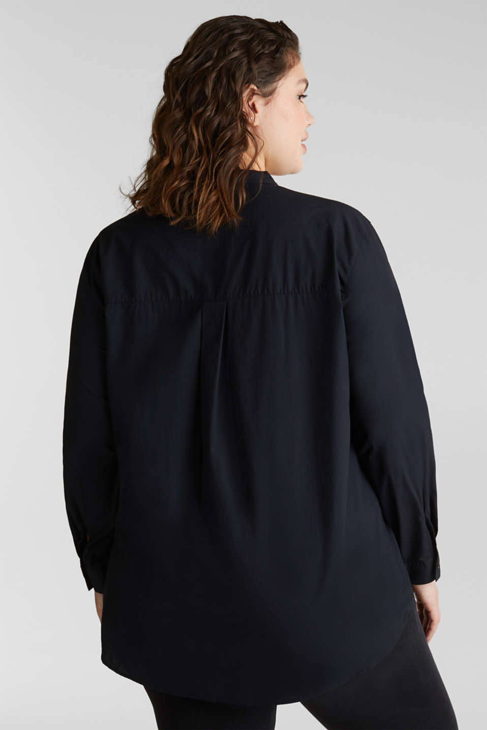 CURVY cotton shirt blouse, BLACK, detail image number 3