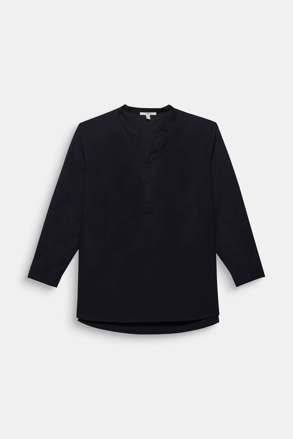 CURVY cotton shirt blouse, BLACK, detail image number 7