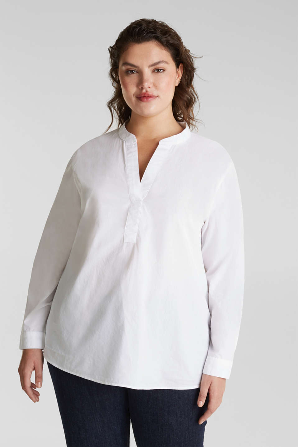 Esprit - CURVY simple blouse top, 100% cotton