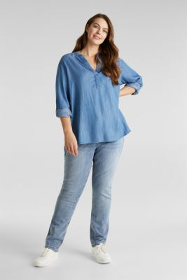 CURVY: Denim-look Henley blouse made of TENCEL™, BLUE LIGHT WASH, detail